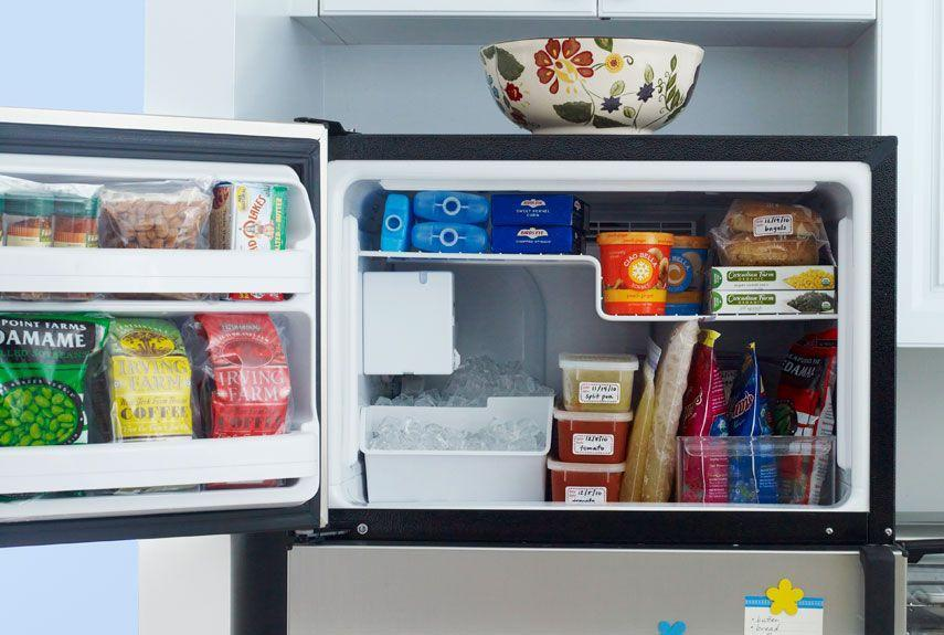 """<p>Freeze food in flat in zip-seal bags, labels them by date and then """"file"""" them vertically in bins to maximize space. </p>"""