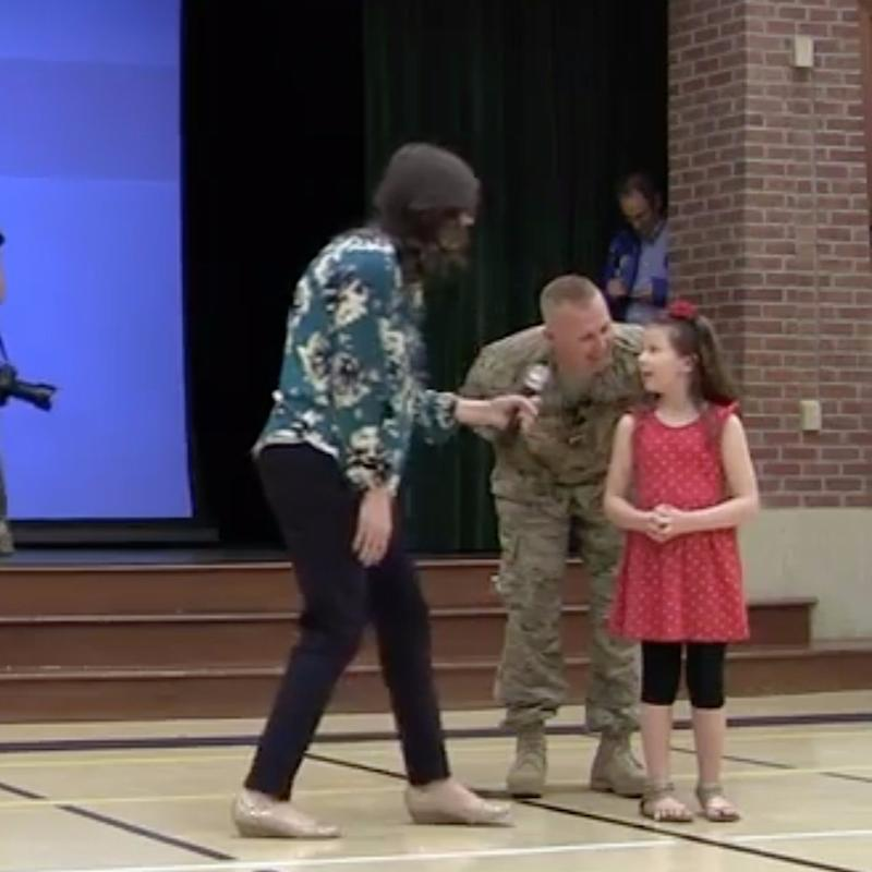 As This Little Girl Spoke About Her Army Dad at School, He Was Standing Right Behind Her!