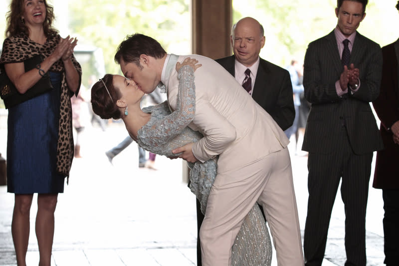 The wedding of Blair Waldorf (Leighton Meester) and Chuck Bass (Ed Westwick) on ?Gossip Girl? (2012).
