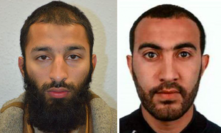 Khuram Butt and Rachid Redouane were two of the three men who murdered people in London Bridge on Saturday night (PA)