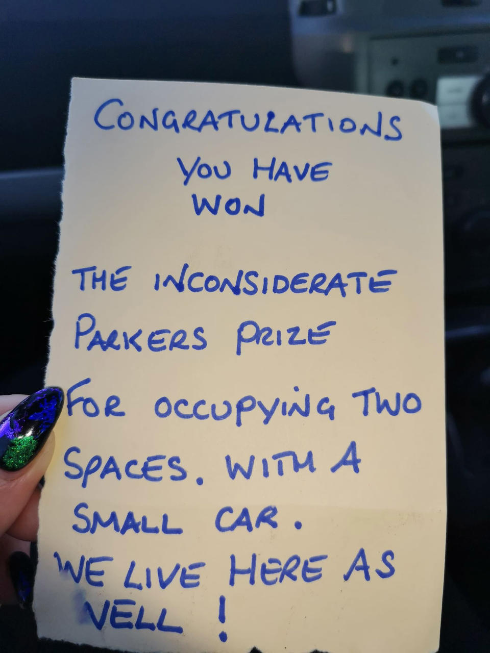 Chelsey Chara has vowed to continue parking in the same spot despite the backlash [Photo: Caters]