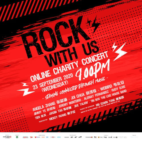 "Don't forget to tune in to the ""Rock With Us: Online Charity Concert""!"