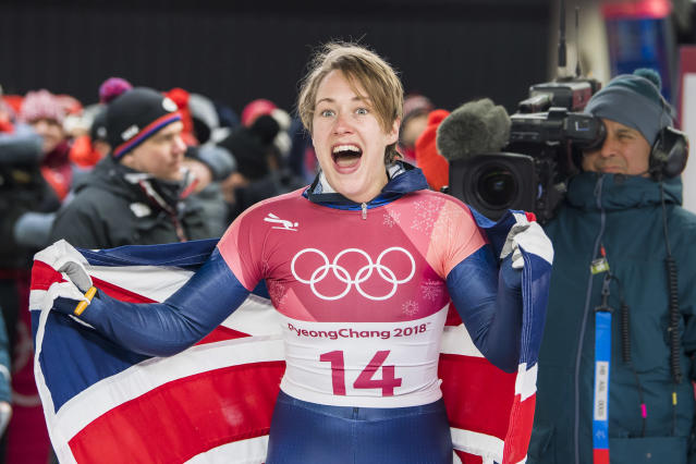 Lizzy Yarnold celebrates winning her second gold medal in the Skeleton (Andy J Ryan/Team GB)