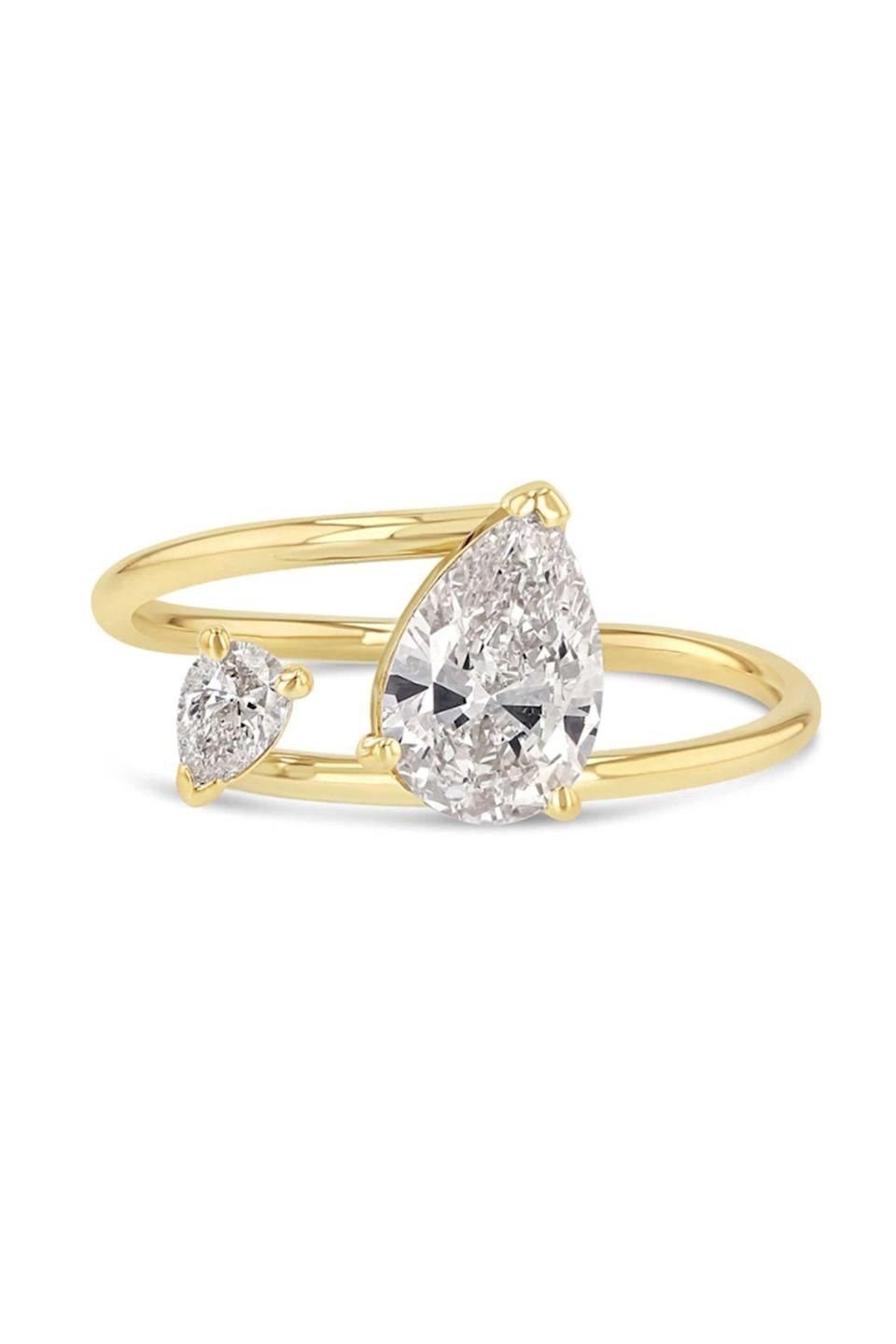 """<p><strong>Grace Lee</strong></p><p>gracelee.com</p><p><strong>$9880.00</strong></p><p><a href=""""https://gracelee.com/collections/bridal/products/twin-pear-ring"""" rel=""""nofollow noopener"""" target=""""_blank"""" data-ylk=""""slk:Shop Now"""" class=""""link rapid-noclick-resp"""">Shop Now</a></p><p>Grace Lee creates an asymmetric design that proves two solitaires just might be better than one. </p>"""