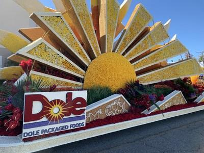 Dole Packaged Foods' 2020 Rose Parade Float 'Sunshine for All' traveling down Colorado Blvd. to delight millions of hopeful viewers.