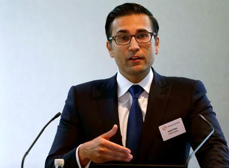 Iqbal Khan, CEO International Wealth Management of Swiss bank Credit Suisse speaks during Reuters Global Wealth Management Summit in Zurich