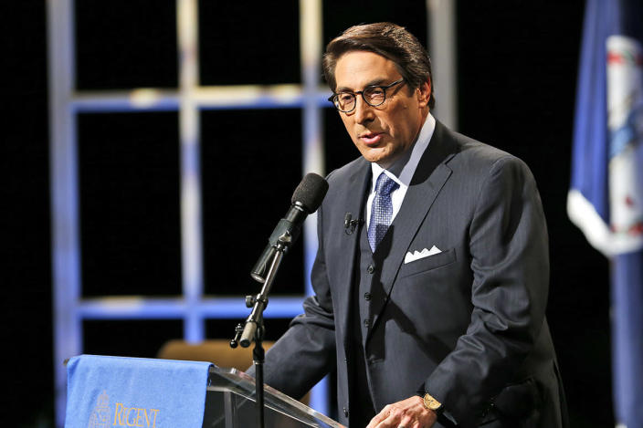 FILE - In this Oct. 23, 2015, file photo, Jay Sekulow, Chief Counsel of the American Center for Law and Justice, introduces Republican presidential candidate former Florida Gov. Jeb Bush during a Presidential candidate forum with Rev. Pat Robertson at Regent University in Virginia Beach, Va. In his testimony to Congress on Feb. 27, 2019, Michael Cohen said that Sekulow, who was serving as one of President Trump's lawyers, reviewed his false congressional testimony and made changes pertaining to what he was going to say,