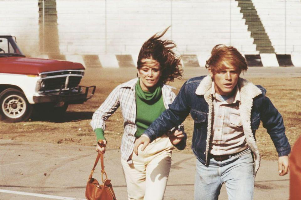 <p>Ron Howard skillfully mixed light and dark denim in <em>Grand Theft Auto</em>. The actor looked trendy in the 1977 film, wearing a denim sherpa jacket with a flannel button down and light wash jeans. </p>