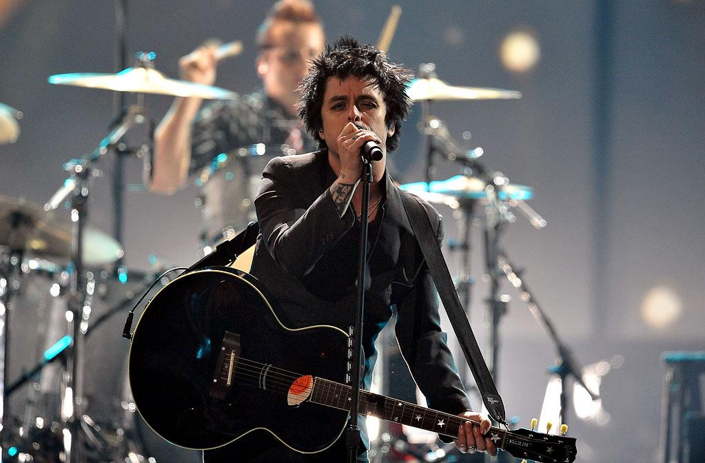 Green Day perform at the 2009 American Music Awards at Nokia Theatre L.A. Live on November 22, 2009 in Los Angeles, California.
