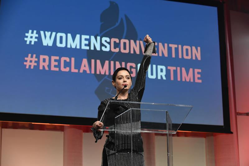 Rose McGowan speaks at the Women's Convention in Detroit on October 27. (Photo: Aaron Thornton/Getty Images)