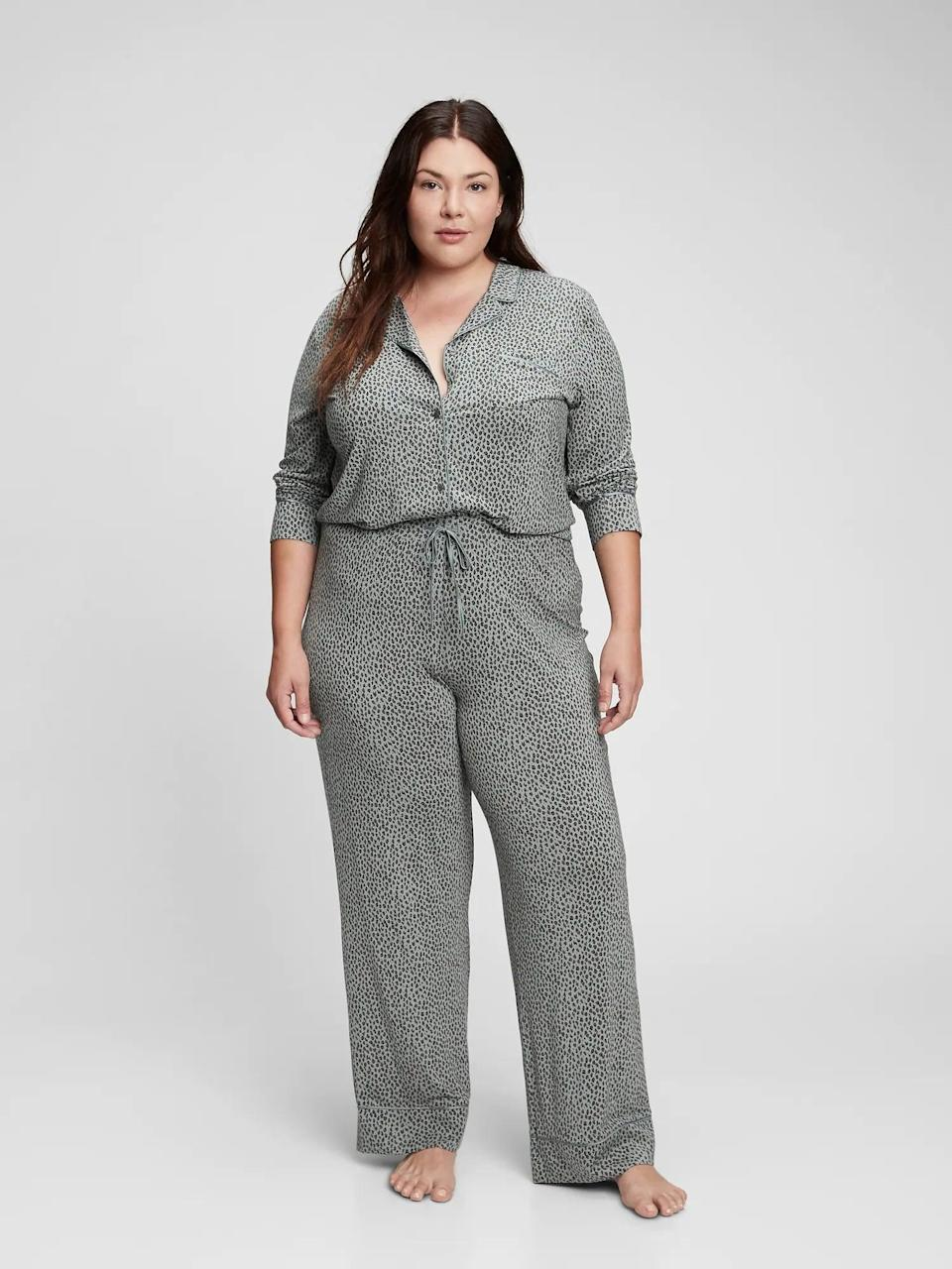<p>If we could, we'd wear modal pajamas all day long. The fabric is so soft and comfortable, you'll never want to take it off. We love the animal print on these comfortable <span>Gap Adult Truesleep Pants</span> ($31, originally $45) and <span>Truesleep PJ Top in Modal</span> ($27, originally $40).</p>