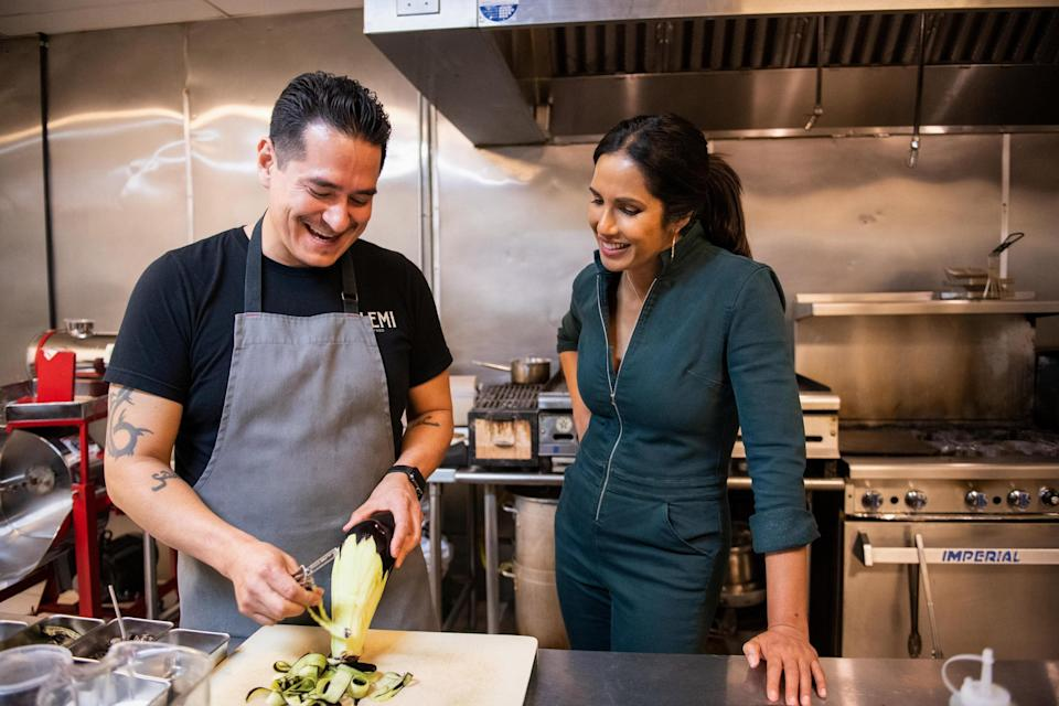 """<p>With international travel largely on hold, there's no better time to explore our own backyard—which is exactly what host Padma Lakshmi did on her new Hulu show <a href=""""https://www.cntraveler.com/story/padma-lakshmi-on-the-immigrant-cuisines-that-make-america?mbid=synd_yahoo_rss"""" rel=""""nofollow noopener"""" target=""""_blank"""" data-ylk=""""slk:Taste the Nation."""" class=""""link rapid-noclick-resp""""><em>Taste the Nation</em>.</a> The show's first season, released in June, follows the <em>Top Chef</em> host and author as she quite literally <a href=""""https://www.cntraveler.com/story/50-states-50-cuisines?mbid=synd_yahoo_rss"""" rel=""""nofollow noopener"""" target=""""_blank"""" data-ylk=""""slk:tastes the nation"""" class=""""link rapid-noclick-resp"""">tastes the nation</a>, stopping at restaurants around the U.S. to sample the foods of a variety of Indigenous and immigrant groups. Expect to see some familiar faces, like comedian Ali Wong and spearfisher <a href=""""https://www.cntraveler.com/story/i-deserve-this-kimi-werner?mbid=synd_yahoo_rss"""" rel=""""nofollow noopener"""" target=""""_blank"""" data-ylk=""""slk:Kimi Werner"""" class=""""link rapid-noclick-resp"""">Kimi Werner</a>, along the way. </p> <p><strong>Watch now:</strong> Free with a Hulu subscription (<a href=""""https://fave.co/2TB5HGJ"""" rel=""""nofollow noopener"""" target=""""_blank"""" data-ylk=""""slk:sign up for Hulu here"""" class=""""link rapid-noclick-resp""""><em>sign up for Hulu here</em></a>)</p>"""