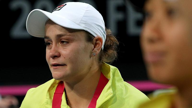 A distraught Ashleigh Barty after Australia's 3-2 Fed Cup final loss to France in Perth
