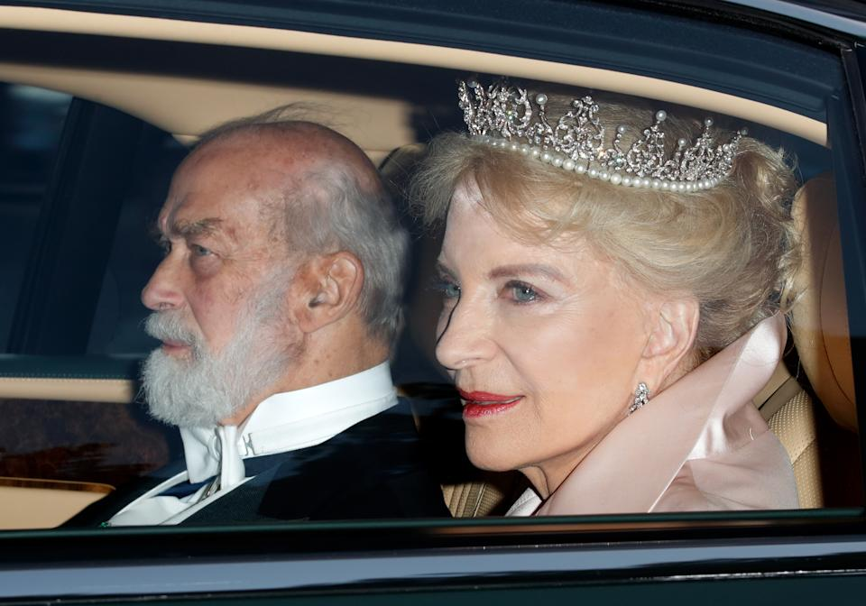 Prince Michael of Kent and Princess Michael of Kent depart Kensington Palace to attend a State Banquet at Buckingham Palace on day 1 of US President Donald Trump's State Visit to the UK on June 3, 2019 in London, England. President Trump's three-day state visit will include lunch with the Queen, and a State Banquet at Buckingham Palace, as well as business meetings with the Prime Minister and the Duke of York, before travelling to Portsmouth to mark the 75th anniversary of the D-Day landings. (Photo by Max Mumby/Indigo/Getty Images)