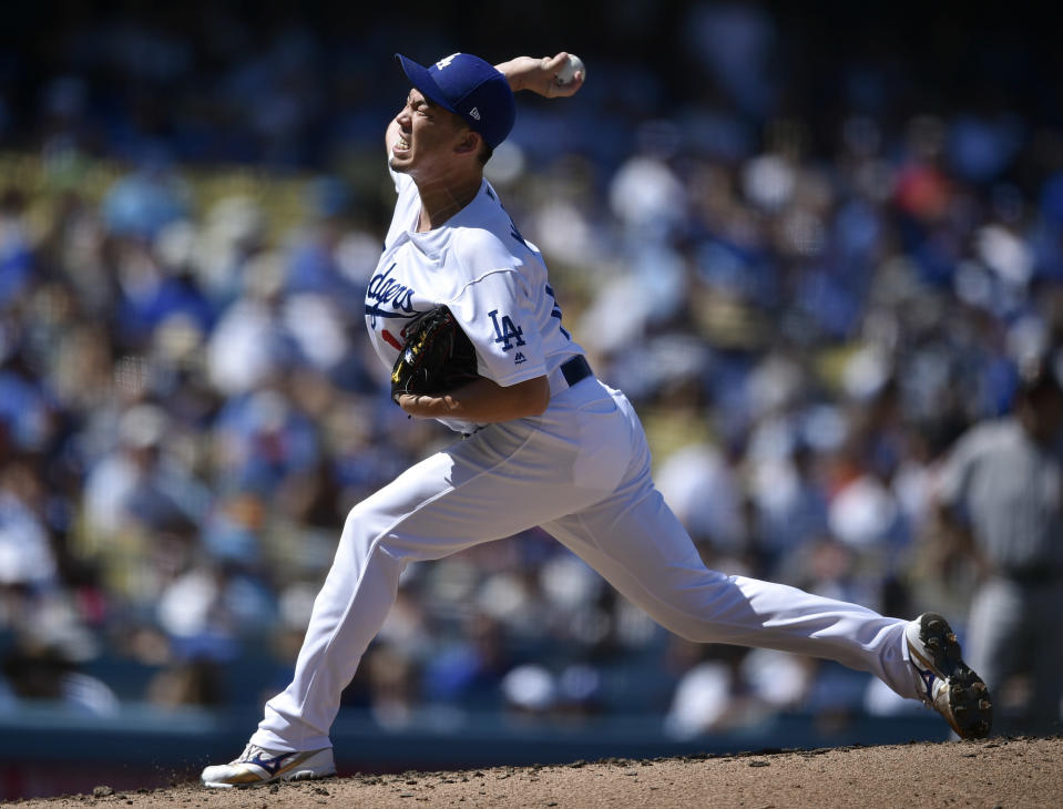 Los Angeles Dodgers pitcher Kenta Maeda delivers a pitch during the third inning of a baseball game against the San Francisco Giants in Los Angeles, Sunday, Sept. 8, 2019. (AP Photo/Kelvin Kuo)