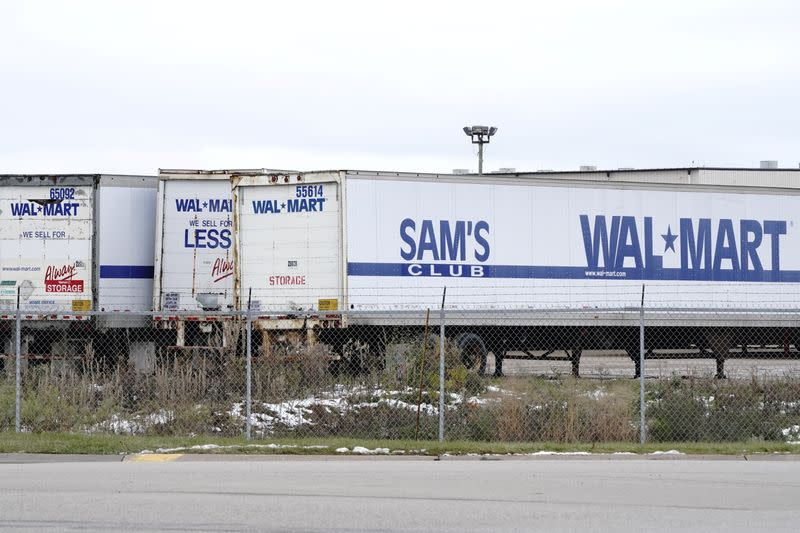 Trailers bearing the Walmart and Sam's Club logos are seen outside Walmart Distribution Center 6025 as the coronavirus disease (COVID-19) outbreak continues in Menomonie