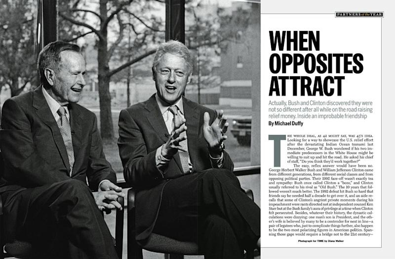 Bush and Clinton in TIME's December 26, 2005 / January 2, 2006 / U.S. Edition.