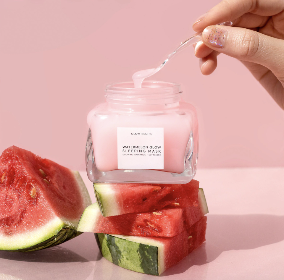 """<p><strong>Glow Recipe</strong></p><p>sephora.com</p><p><strong>$45.00</strong></p><p><a href=""""https://go.redirectingat.com?id=74968X1596630&url=https%3A%2F%2Fwww.sephora.com%2Fproduct%2Fwatermelon-glow-sleeping-mask-P420160&sref=https%3A%2F%2Fwww.goodhousekeeping.com%2Fbeauty%2Fanti-aging%2Fg34740786%2Fkorean-face-masks%2F"""" rel=""""nofollow noopener"""" target=""""_blank"""" data-ylk=""""slk:Shop Now"""" class=""""link rapid-noclick-resp"""">Shop Now</a></p><p>This cult-favorite mask is loved for its multi-use efforts: it <strong>hydrates with hyaluronic acid and gently exfoliates with alpha-hydroxy acid</strong>s. Even Dr. Chimento is a fan: """"You can leave this one on to sleep or wash it off after 10-20 minutes,"""" she tells us. """"It is super soothing and will help brighten your face."""" If you have sensitive skin, Dr. Chimento recommends using the mask as a wash-off.<br></p>"""