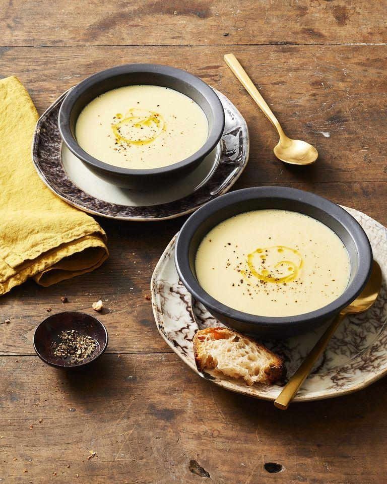 """<p>To nail the perfect soup consistency, mix yesterday's mashed potatoes with chicken broth. (FYI: The more garlicky the potatoes, the better.)</p><p><em><a href=""""https://www.goodhousekeeping.com/food-recipes/easy/a29428925/potato-leek-soup-recipe/"""" rel=""""nofollow noopener"""" target=""""_blank"""" data-ylk=""""slk:Get the recipe for Potato Leek Soup »"""" class=""""link rapid-noclick-resp"""">Get the recipe for Potato Leek Soup »</a></em></p>"""