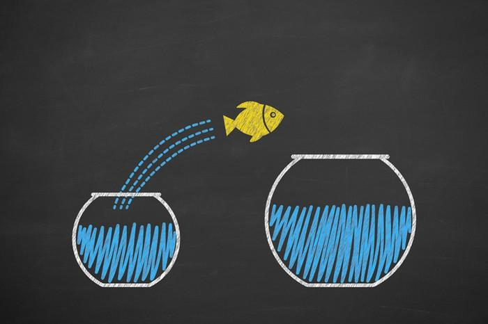 A chalkboard drawing of a fish jumping from one fishbowl to another.