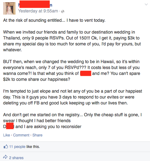 The bride vented after her friends balked at paying $3,000 to attend her destination wedding.