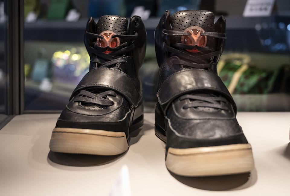 HONG KONG, CHINA - APRIL 16: Kanye West's Nike Air Yeezy 1 sneaker for sale with a price tag of US $ 2 million is seen at Sotheby's World's Largest Brokers Show in Hong Kong on April 16, 2021. Photo by Miguel Candela / Anadolu Agency via Getty Images)