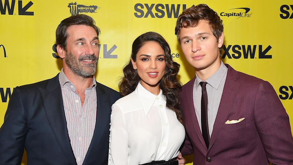 Jon Hamm, Eiza González, and Ansel Elgort attend the <em>Baby Driver</em> premiere. (Photo: Matt Winkelmeyer/Getty Images)