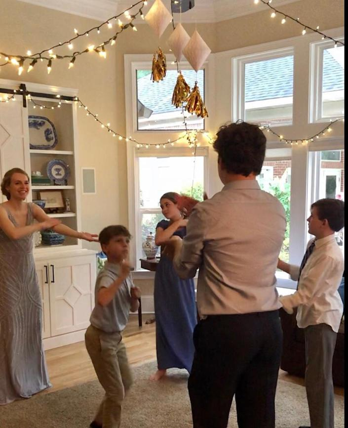 The whole Roberts family got in on the prom planning for their 2020 high school graduate, Madeleine. They included her favorite foods, songs and flowers, and then they filled the home dance floor. (Courtesy of Kristin Roberts)