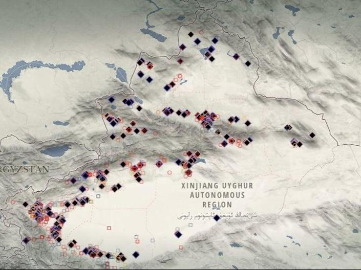 Nearly 400 're-education' detention facilities mapped out across the Xinjiang region (The Xinjiang Data Project/Australian Strategic Policy Institute)