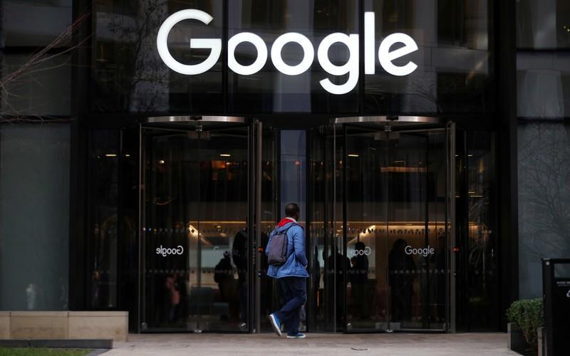 The Google logo is pictured at the entrance to the Google offices in London