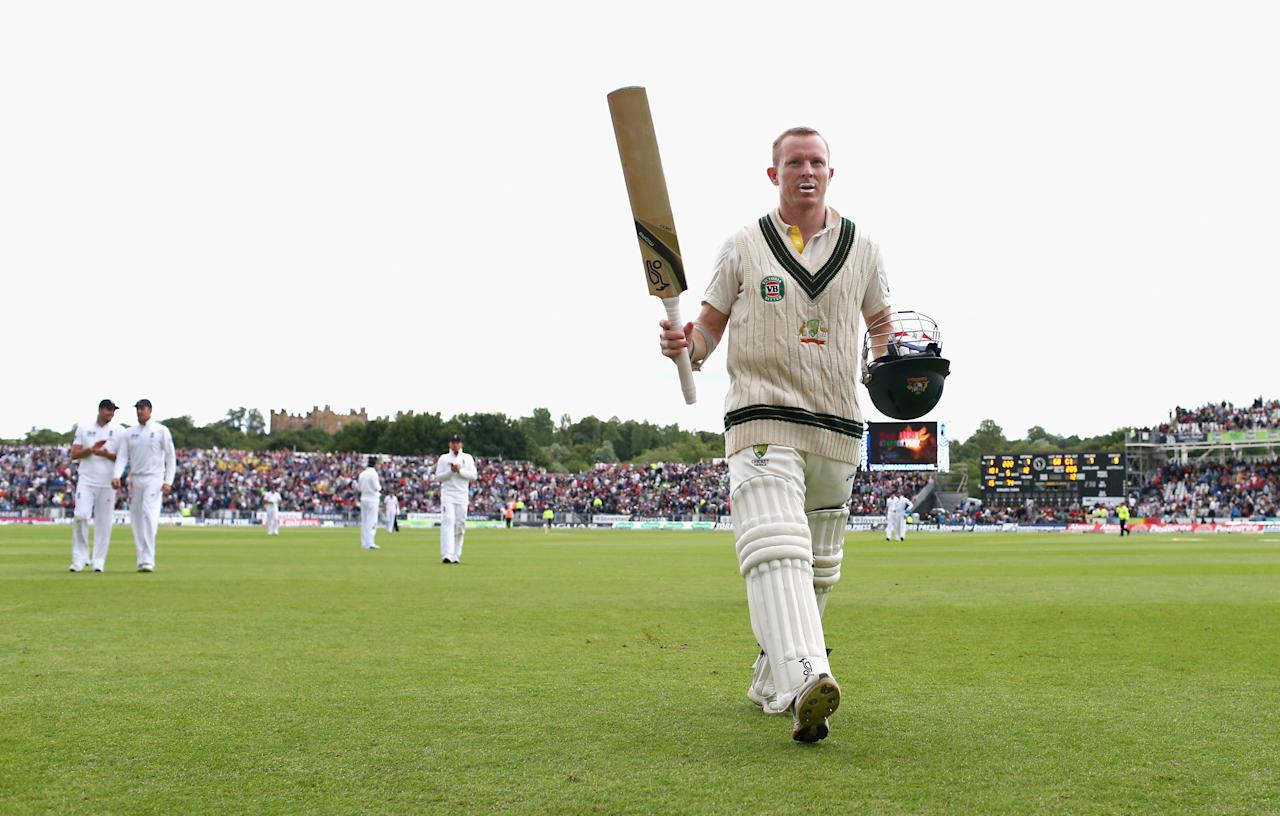 CHESTER-LE-STREET, ENGLAND - AUGUST 10:  Chris Rogers of Australia raises his bat as he leaves the ground on 101 not out as bad light stopped play during day two of 4th Investec Ashes Test match between England and Australia at Emirates Durham ICG on August 10, 2013 in Chester-le-Street, England.  (Photo by Ryan Pierse/Getty Images)