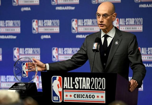 NBA commissioner Adam Silver will hold a conference call with players on Friday as the league ponders how to return to play (AFP Photo/Stacy Revere)