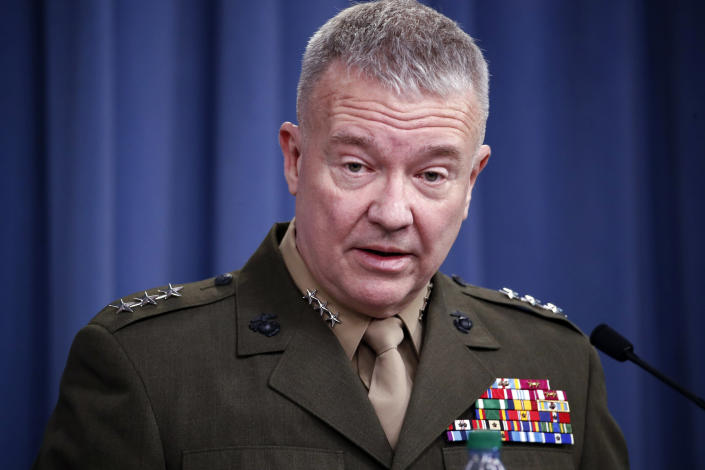 "FILE - In this April1 14, 2018, file photo, then-Marine Lt. Gen. Kenneth ""Frank"" McKenzie speaks during a media availability at the Pentagon in Washington. In a blunt assessment Tuesday, Gen. Frank McKenzie, head of U.S. Central Command, told Congress it will be extremely difficult but not impossible for the U.S. to find, track and take out counterterrorism threats in Afghanistan once all American troops are withdrawn. (AP Photo/Alex Brandon, File)"