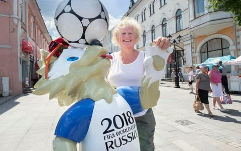 England Supporter Debbie Stone in Nizhny Novogrod - Credit: Julian Simmonds for the Telegraph