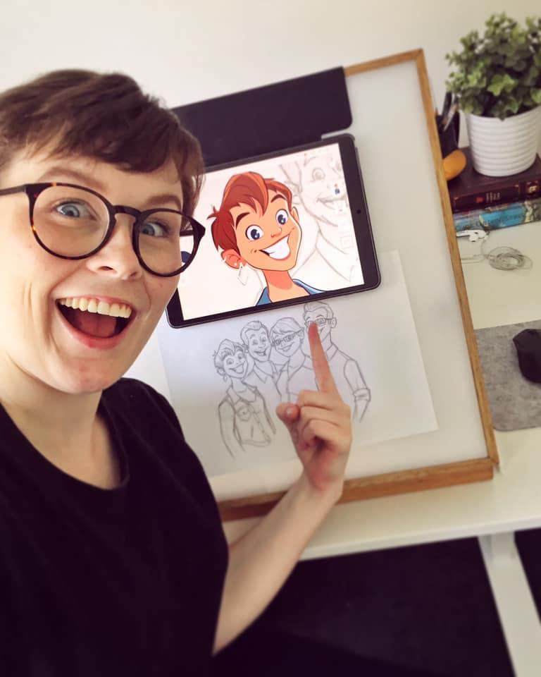 Aussie illustrator and character designer Kayla Coombs at her Melbourne studio office. Credit: Kayla Coombs