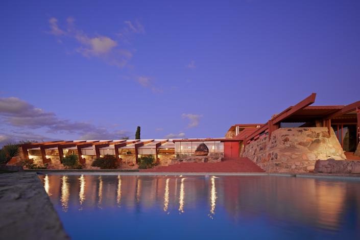 "<div class=""caption""> Taliesin West in Scottsdale, Arizona, is where Wright would spend the winter months. </div> <cite class=""credit"">Photo: Andrew Pielage / Copyright Frank Lloyd Wright Foundation</cite>"