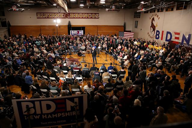 With two days to go until the New Hampshire primary, Biden is campaigning across the state. (Justin Sullivan/Getty Images)