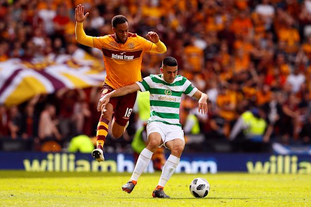Soccer Football - Scottish Cup Final - Celtic vs Motherwell - Hampden Park, Glasgow, Britain - May 19, 2018 Celtic's Tom Rogic in action with Motherwell's Charles Dunne Action Images via Reuters/Jason Cairnduff