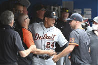 Detroit Tigers' Miguel Cabrera (24) celebrates in the dugout after hitting his 500th career home run in the sixth inning against the Toronto Blue Jays during a baseball game in Toronto, Sunday, Aug. 22, 2021. (Jon Blacker/The Canadian Press via AP)