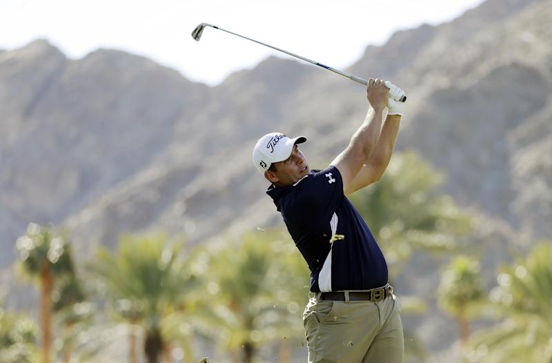 Scott Stallings hits off the fifth tee during the final round of the Humana Challenge PGA golf tournament on the Palmer Private Course at PGA West, Sunday, Jan. 20, 2013, in La Quinta, Calif. (AP Photo/Ben Margot)