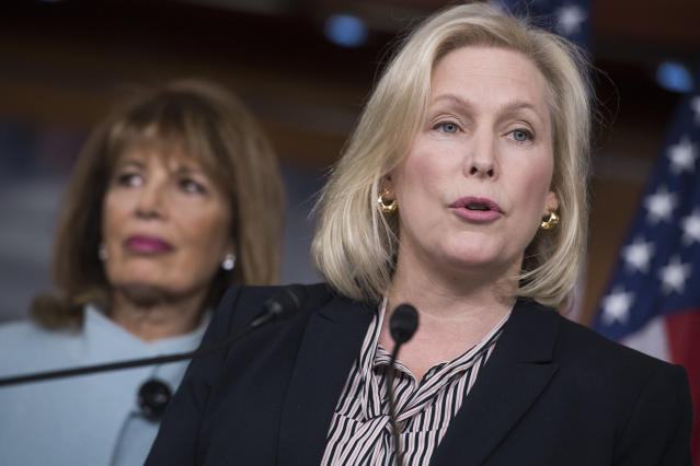 Sen. Kirsten Gillibrand (D-N.Y.) says that the standards of behavior that would lead to someone resigning or being fired have changed since Bill Clinton was in office. (Tom Williams via Getty Images)