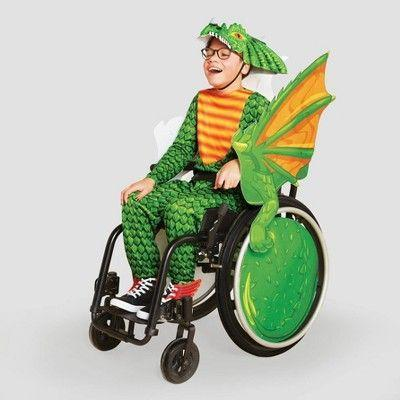 """<p><strong>Hyde & EEK! Boutique</strong></p><p>target.com</p><p><strong>$35.00</strong></p><p><a href=""""https://www.target.com/p/kids-39-adaptive-dragon-halloween-costume-wheelchair-cover-with-headpiece-hyde-38-eek-boutique-8482/-/A-79283790"""" rel=""""nofollow noopener"""" target=""""_blank"""" data-ylk=""""slk:Shop Now"""" class=""""link rapid-noclick-resp"""">Shop Now</a></p><p>This dragon wheelchair cover makes a wheelchair look like a winged beast flying through the sky. It comes with a dragon mask, but you'd have to <a href=""""https://www.target.com/p/kids-adaptive-dragon-halloween-costume-jumpsuit-with-headpiece-hyde-eek-boutique/-/A-79804306"""" rel=""""nofollow noopener"""" target=""""_blank"""" data-ylk=""""slk:buy the dragon costume separately"""" class=""""link rapid-noclick-resp"""">buy the dragon costume separately</a> to complete the look — or DIY your own knight getup. </p>"""
