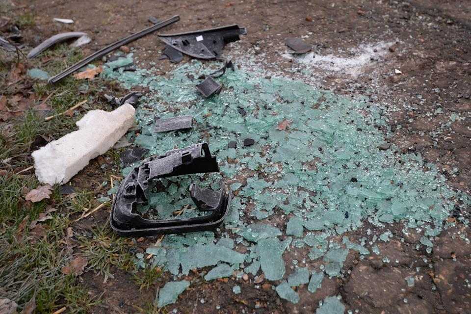 Broken glass and car parts on the side of the A149 near to the Sandringham Estate where the Duke of Edinburgh was involved in a road accident yesterday while driving [Photo: PA]