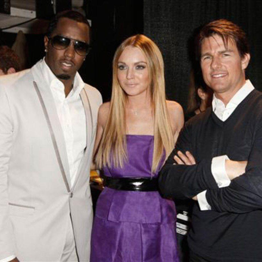 Lindsay Lohan with Diddy and Tom Cruise