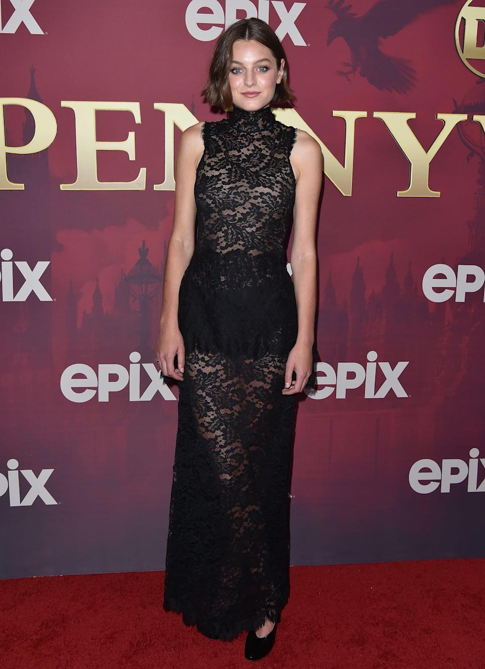 <p>Emma Corrin wore a sheer, black lace Chanel maxi dress to the 2019 premiere of <strong>Pennyworth</strong> in Los Angeles.</p>