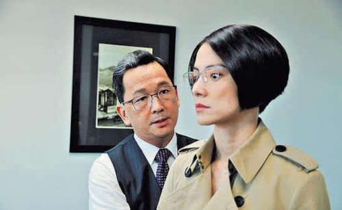 With Angelica Lee in HKTV's 'The Election'.