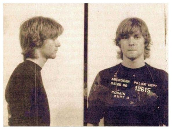 <p>Kurt Cobain's mug shot after being arrested by Aberdeen, Washington police in May 1986. He was taken into custody for spray painting vehicles.</p>