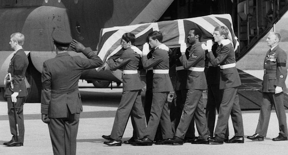 The coffin of Lord Mountbatten carried by officers at the airport