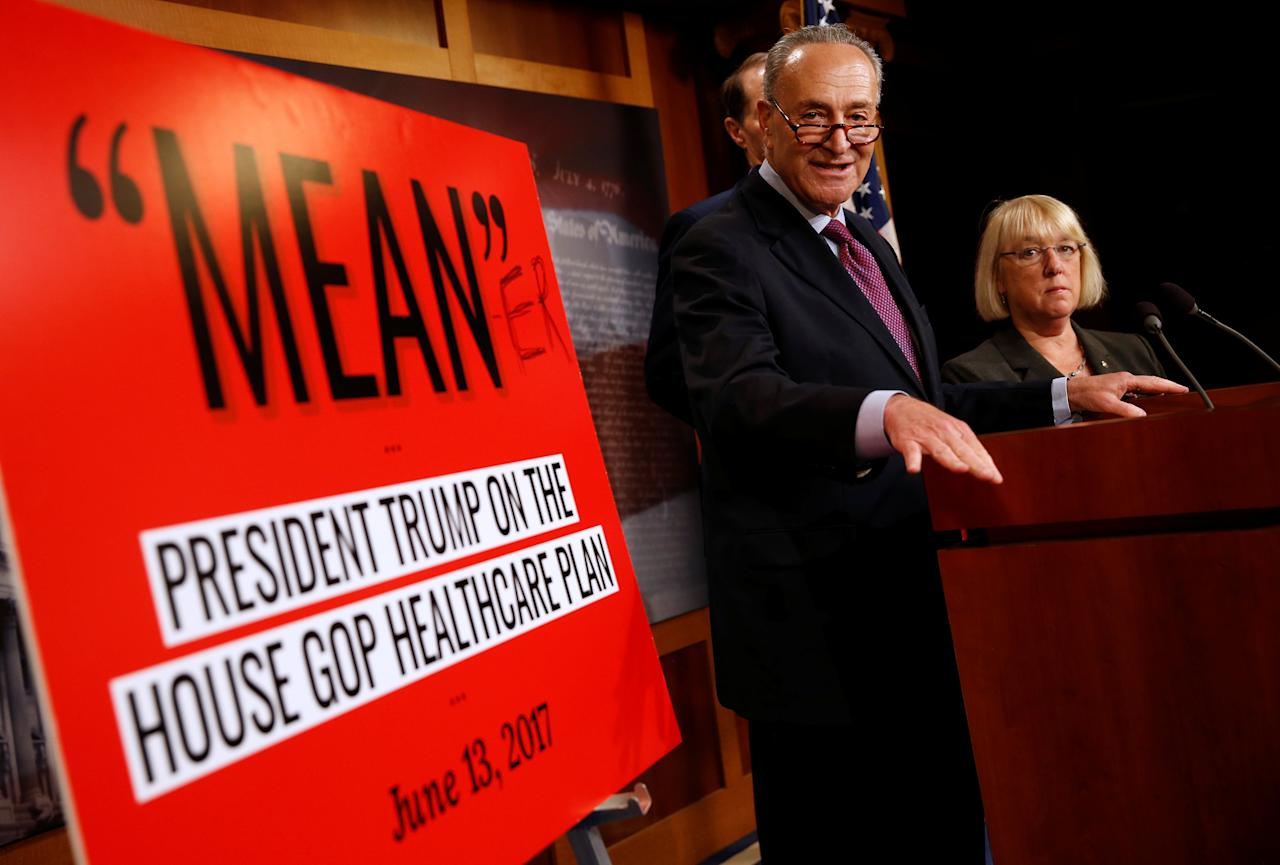 Senate Minority leader Chuck Schumer (D-NY), Senator Patty Murray (D-WA) and Senator Ron Wyden (D-OR) speak after Senate Republicans unveiled their version of legislation that would replace Obamacare on Capitol Hill in Washington, U.S., June 22, 2017.   REUTERS/Joshua Roberts