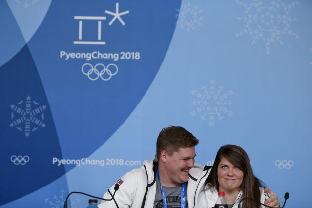 Matt and Becca Hamilton will be competing on both the mixed curling and on their respective teams (AP)